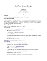 Example Of Objectives For Resume by Teller Resume Sample Resume For Your Job Application