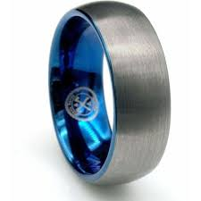 midnight blue wedding band the blue steel tungsten carbide with blue inlay wedding band