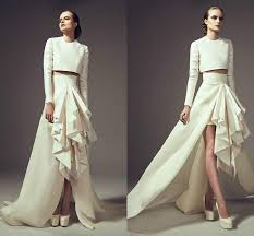 dh prom dresses modest 2016 two pieces evening dresses neck sleeves