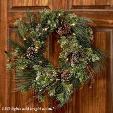 frosted pine led lighted winter wreath
