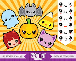 12 Halloween Kawaii Clip Art Cute Halloween Clipart Cute