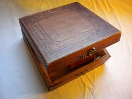 ca 1925 1930 this simple wooden box with a brass hook clasp is