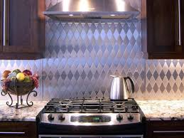 metal tile backsplash kitchen granite countertop wall mount range