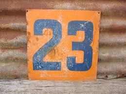 vintage sign number 23 sign hand painted rustic sign orange