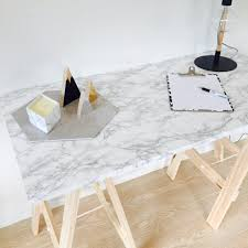 diy multipurpose marble trestle table for less than 90