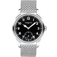 black mesh bracelet images Montblanc 1858 black dial steel mesh bracelet men 39 s watch jpg