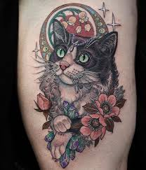 tattoo cat flower leg tattoo tattoo for women animals pets