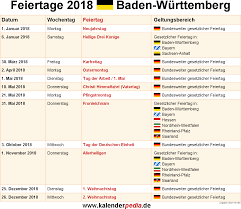 Ferienkalender 2018 Bw Feiertage Baden Württemberg 2017 2018 2019
