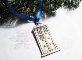 blue box ornament inspired by dr who and the