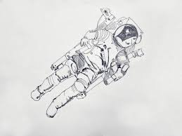 drawn astronaut linework pencil and in color drawn astronaut