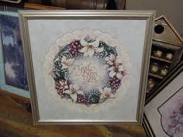 beautiful home interiors picture wreath with flowers and lace says