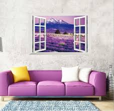 purple lavender wall sticker 3d fake window home decor tv sofa