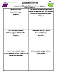 3rd grade common core geometry riddles quadrilaterals by jen hoglund