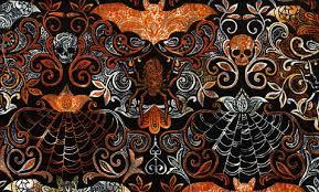 black bats skulls u0026 web damask fabric yardage wicked night