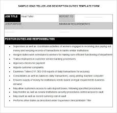 Job Description Of A Teller For Resume by Teller Job Resume Cv Cover Letter