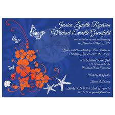 Reception Invitation Cards Post Wedding Reception Invitation Blue Orange White Tropical