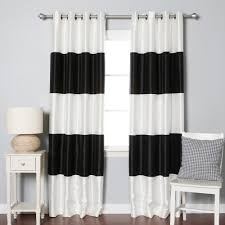 decorating black and white horizontal striped curtains with cream