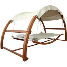 leisure season 10 1 2 foot wood outdoor swing bed with canopy leisure season 10 1 2 foot wood outdoor swing bed with canopy angle view