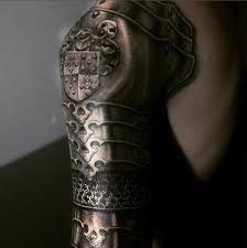realistic shoulder knight armor tattoo for men