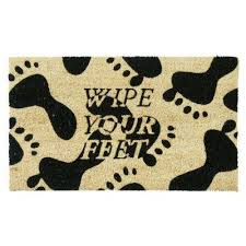 Coir Doormat Wipe Your Paws Coir Water Resistant Door Mats Mats The Home Depot