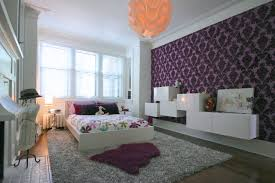bedroom splendid full purple art wallpaper wall beside white