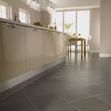 modern white themed kitchwn with vinyl floor tiles contemporary