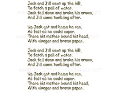 jack and jill complete nursery rhyme thenurseries