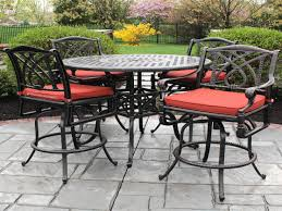 metal patio table and chairs set bar height patio furniture bar