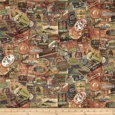 World Map Fabric by Tim Holtz Eclectic Elements Expedition Multi Discount Designer