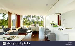 modern kitchen living room open plan interior of modern kitchen across living room with