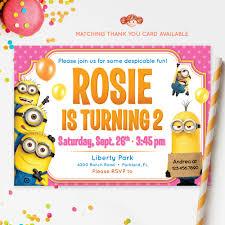 minion birthday party invites pink minions invitation despicable me printable kids invitation