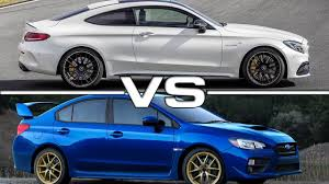 subaru wrx interior 2017 2017 mercedes amg c63 s coupe vs 2015 subaru wrx sti youtube