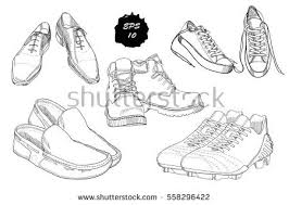 vector set sketch shoes items on stock vector 590649749 shutterstock