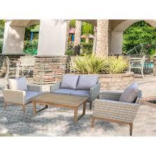 s u0027dente portofino 4 piece wicker patio conversation set with multi