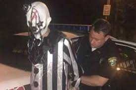 creepy costumes scary clown who lurked in the woods arrested as crackdown