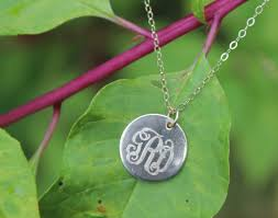 Engraved Monogram Necklace Personalized Jewelry Monogram Necklace Name Necklace Initial