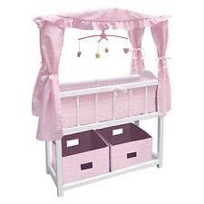 badger basket canopy doll crib with baskets bedding u0026 mobile