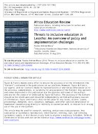threats to inclusive education in lesotho an overview of policy