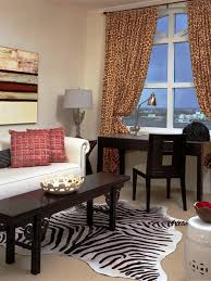 Leopard Print Rug Living Room Modern Home Office With Animal Print Rug And Curtains Interior