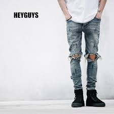Mens Destroyed Skinny Jeans Online Cheap 2016 New Fashion Street Mens Destroyed Jeans Hole