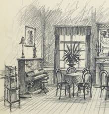 Artwork For Dining Room Pencil Drawing Dining Room Circa 1950