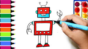 robot coloring page learn colors for girls and kids youtube