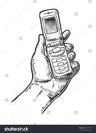 drawn telephone hand drawn pencil and in color drawn telephone