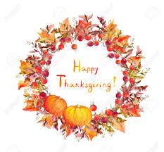 thanksgiving wreath thanksgiving wreath pumpkins berries autumn leaves watercolor