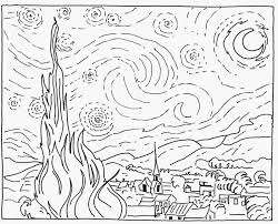 starry night coloring page omeletta me