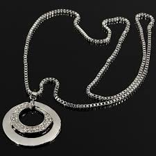 double circle long necklace images Buy silver plated crystal rhinestone double circle long pendant jpg