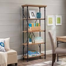 home and decoration amazon com river crest 5 shelf bookcase rustic oak finish by