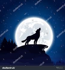 background wolf moon illustration stock