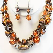 stone necklace sets images Brown animal print stone necklace set jpg