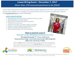 pensacola lowes hiring event careersource escarosa
